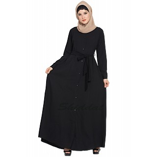 Long Cardigan Abaya- Black