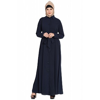 Long Cardigan Abaya- Navy Blue