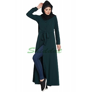 Long Cardigan Abaya- Bottle Green