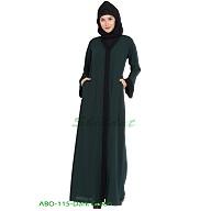 Front open abaya- Dark-Green