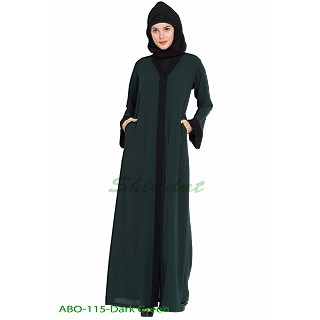 Front open abaya- Dark-Green
