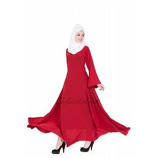Umbrella cut abaya- Red