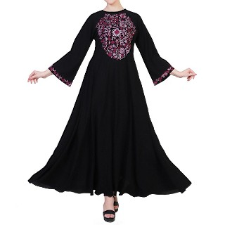 Embroidered umbrella dress abaya- Black