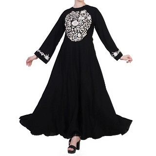 Embroidered umbrella dress abaya- Black-White