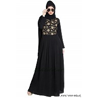 Embroidered pleated abaya- Black-Beige