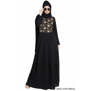 Premium pleated abaya with embroidery- Black-Beige