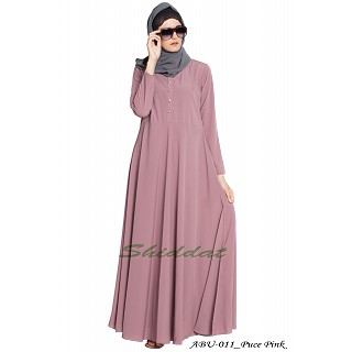 Umbrella cut abaya- Puce-Pink