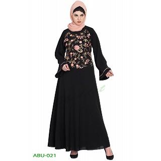 Embroidered Umbrella cut abaya- Black