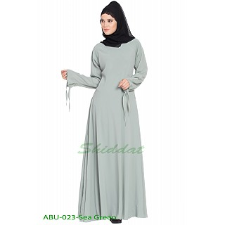 Umbrella abaya with designer sleeves- Sea Green