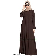 Simple Umbrella abaya with frills on sleeves- Coffee-Brown