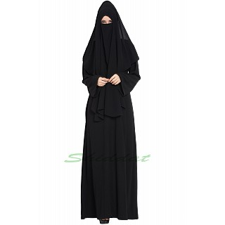 Burqa with 3 layers Niqab- Black