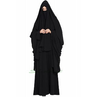 Black Saudi burqa- 4 pieces set