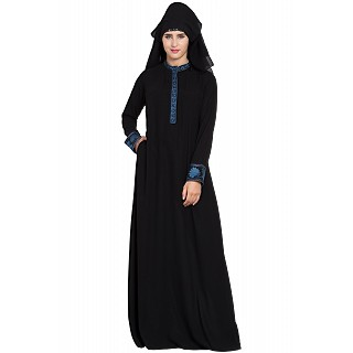 Embroidered Black Burqa with triple layered Nose Piece