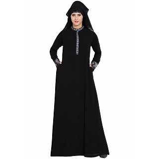 Embroidered Black Burqa with triple layered Naqaab and Nose Piece