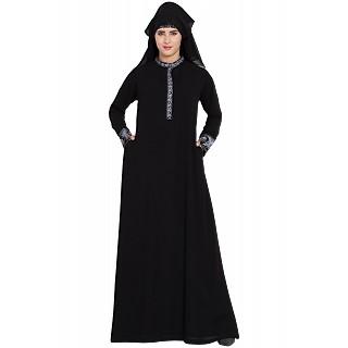 979da5c044e Embroidered Black Burqa with triple layered Naqaab   Nose Piece