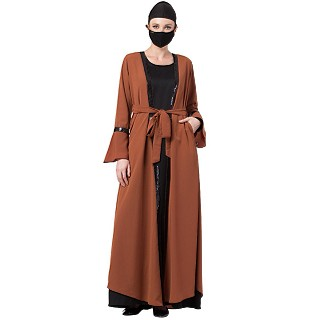 Cardigan and inner abaya combo- Rust-Black