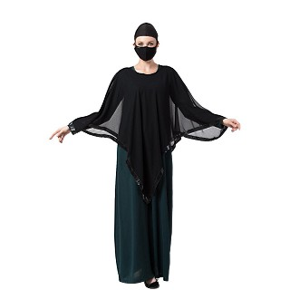 Abaya and Poncho combo- Green-Black