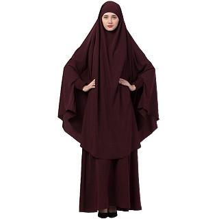 Islamic Burqa-Khimar combo- Wine