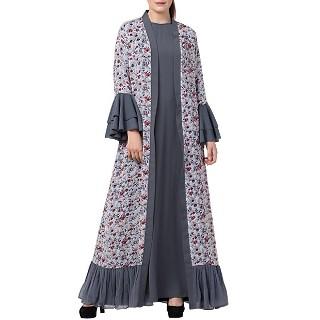 Designer Cardigan with an Inner abaya- Grey-Multi