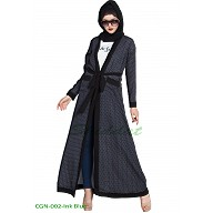 Long printed Cardigan abaya- Ink Blue