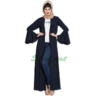 Long Cardigan Abaya with Frills and Bell Sleeves- Navy Blue