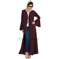 Long Cardigan abaya with frills and bell sleeves