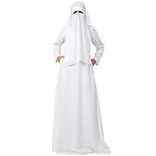 White A-line abaya and Naqaab combo