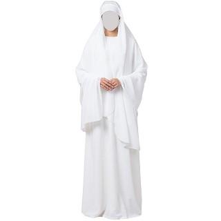 White A-line abaya and Irani Chadar combo