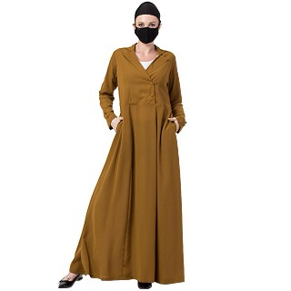 Designer Coat abaya- Golden Brown