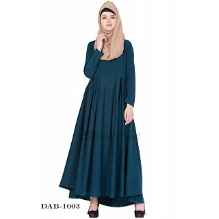 Umbrella abaya with box pleats- Rama Green