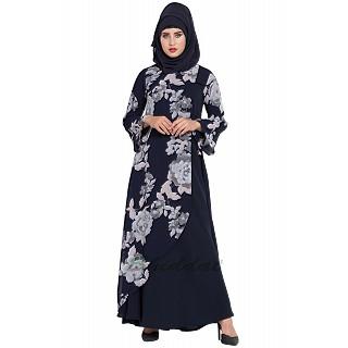 Dress abaya with Floral print- Navy Blue