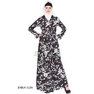 Dress Abaya - Black-White