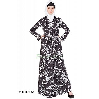 Dress Abaya - Black-White