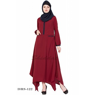 Asymmetrical Dress - Maroon