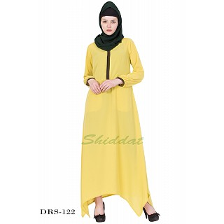 Asymmetrical Dress - Dark Lemon