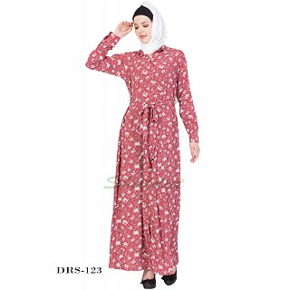 Dress Abaya- Dark Pink