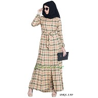 Front open Dress with belt- Beige check