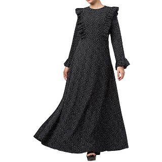 Maxi Dress with polka dots- Black