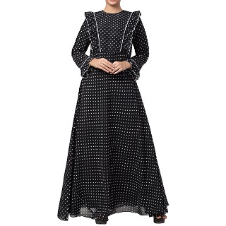 Double layered Maxi Dress with polka dots
