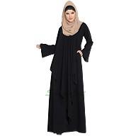 Falling Shrug abaya- Black