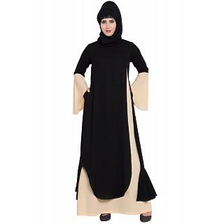 Dubai style abaya Dress- Fawn-Black