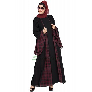 Double-layered designer abaya- Black-Maroon