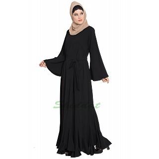 Black abaya with designer bottom