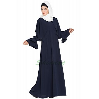 Cape abaya with Bell sleeves- Navy Blue