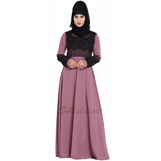 Designer Party wear abaya- Puce Pink