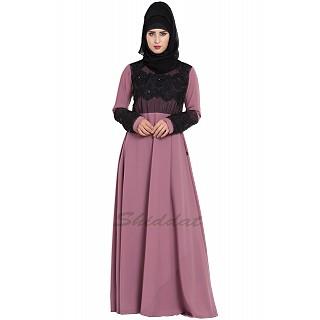 Designer Party wear abaya- Puce Pink
