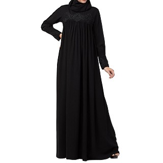 Loose fit Abaya with  pearl lace work- Black