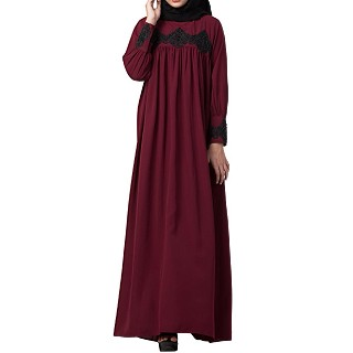Loose fit abaya with  pearl lace work- Maroon
