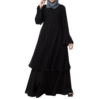 Double layered dress abaya with bell sleeves- Black