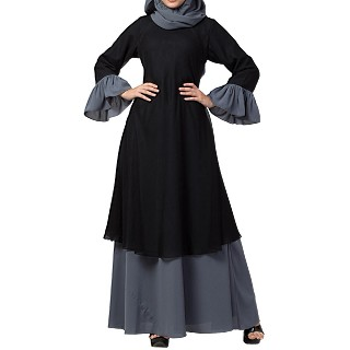 Double layered dress abaya with bell sleeves- Black-Grey